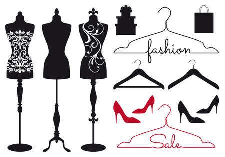 fashion: Mannequin, Schneider dummy, Kleiderbügel, Schuhe, Vektor-Set für Modegeschäfte