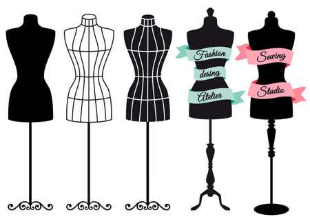 boutique display: Fashion mannequins for shops, sewing studios, boutiques, vector set