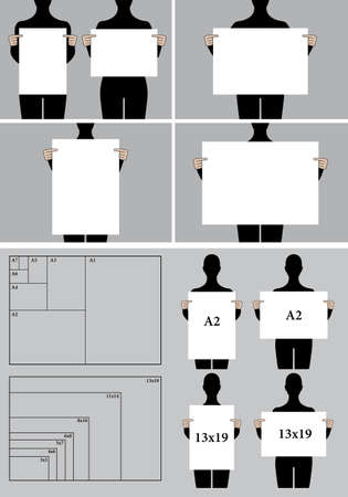 people holding poster mock-up, blank picture templates and paper sizes, vector set