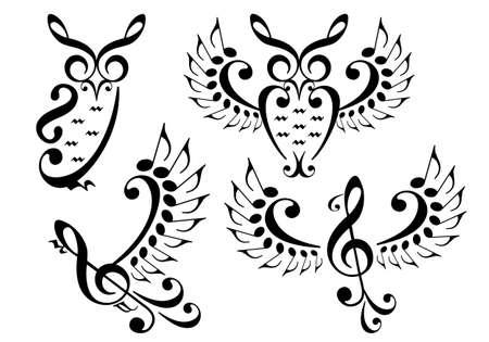 muziek uil en vliegende vogel gemaakt van muzieknoten, vector set Stock Illustratie