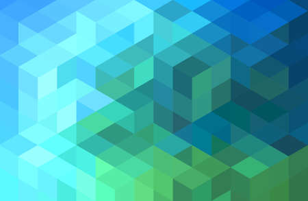 abstract green blue geometric vector background, cube pattern Reklamní fotografie - 44238369