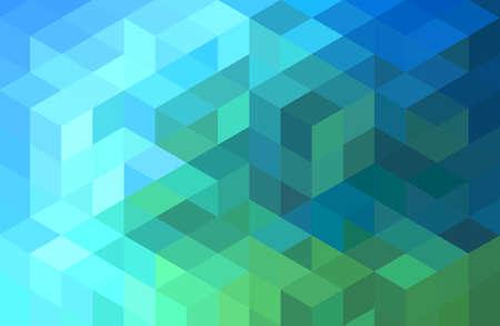 abstraktní zelená modrá geometrické vektoru pozadí, krychle vzor Ilustrace