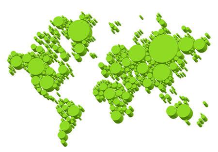 green world: green world map, 3D dots, vector background