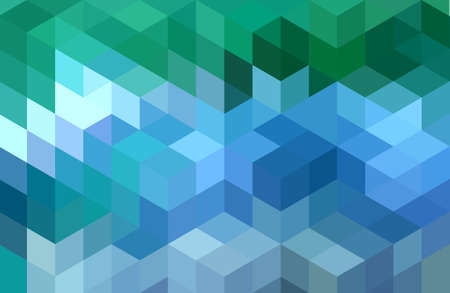 抽象的なグリーン ブルー幾何学的ベクトルの背景、キューブのパターン 写真素材 - 44518335