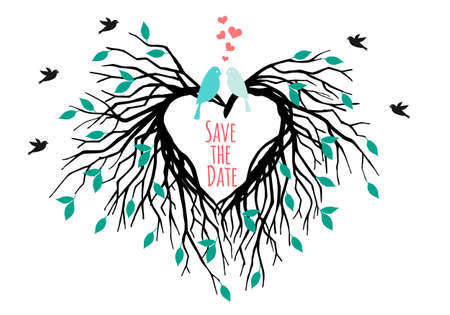 birds in tree: heart shaped wedding tree with birds, save the date, vector illustration Illustration
