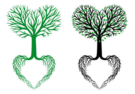 tree of life, heart shaped branches and roots Illustration