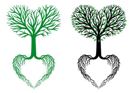 arboles blanco y negro: árbol de la vida, las ramas en forma de corazón y raíces