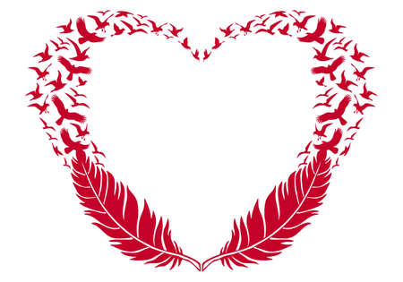 pluma: corazón rojo con plumas y las aves que vuelan, ilustración vectorial para el día de San Valentín