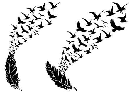 pluma blanca: plumas con aves en vuelo libre, ilustraci�n vectorial para un tatuaje de pared Vectores