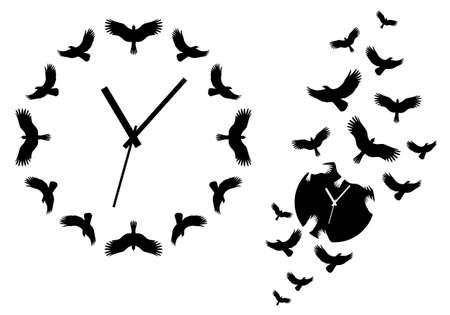 Tiempo: pasa el tiempo, los relojes con los pájaros que vuelan sobre arte de la pared, elementos de diseño vectorial Vectores