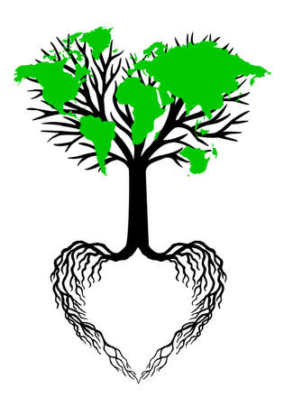 love tree: heart shaped tree with green world map leaves, vector illustration