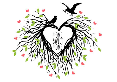sweet couple: heart shaped bird nest, home sweet home, tree of life, vector illustration