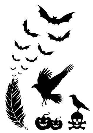 corvus: Raven feather with flying bats, Halloween design elements, vector set Illustration