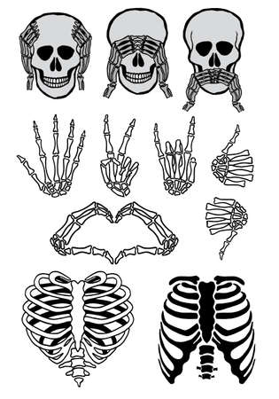 oir: Conjunto de cráneo de Halloween, tres cráneos sabios, ver, oír, no hablar mal, señales de mano, elementos de diseño vectorial