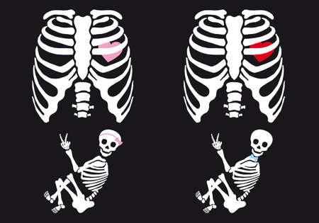 esqueleto: Bebé Esqueleto y niña, conjunto de maternidad camiseta de Halloween vector