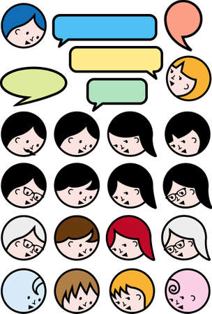 black lady talking: talking people, user avatars with speech bubbles, vector icon set Illustration
