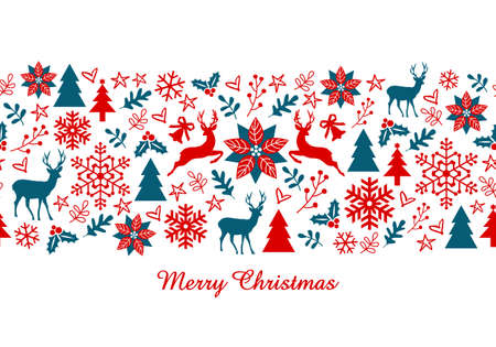 Christmas card, Xmas banner with seamless pattern, vector illustration Stock Illustratie