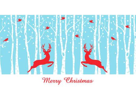 reindeer silhouette: Reindeers in birch tree forest, seamless vector pattern, Christmas card Illustration