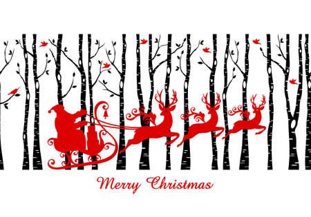サンタのそりは、白樺の木の森、クリスマス カード、シームレスなパターンのベクトルのと  イラスト・ベクター素材