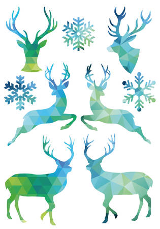 low: Christmas deer with low poly geometric pattern, set of vector design elements