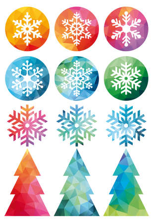 contemporary design: Low poly Christmas trees and snowflakes, set of vector design elements Illustration