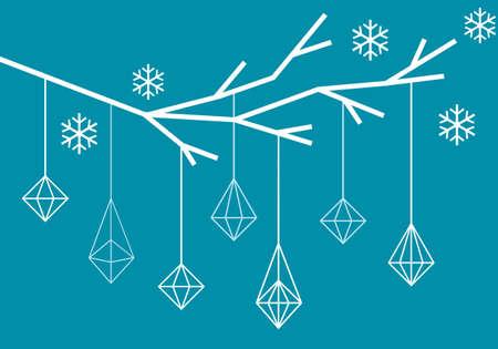 tree branch: Geometric Christmas tree branch, modern simple Xmas card, vector