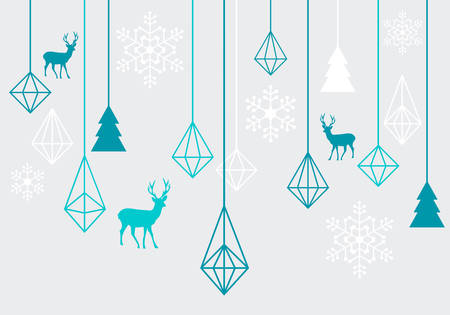 and turquoise: Abstract geometric Christmas ornaments with reindeer, vector design elements