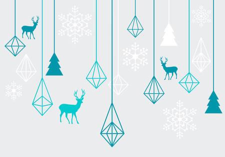 azul turqueza: Abstractas geométricas adornos de Navidad con renos, elementos de diseño vectorial