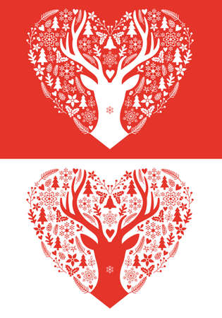 red deer: Christmas card with red heart, deer antlers and hand-drawn ornaments, vector illustration