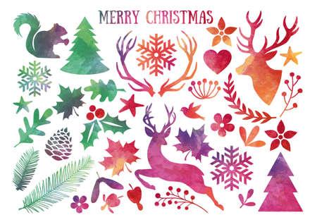 Watercolor Christmas, set of vector design elements