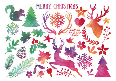 Watercolor Christmas, set of vector design elements