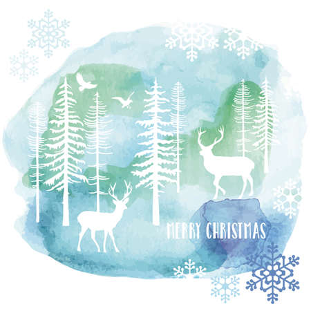 snow forest: Christmas card with reindeer and fir tree forest, watercolor painting, vector illustration