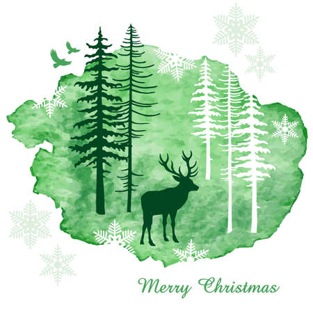 tree silhouettes: Christmas card with reindeer, watercolor painting, vector illustration