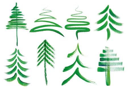 arbol de pino: árboles de la acuarela de navidad, conjunto de elementos de diseño de vectores pintados a mano