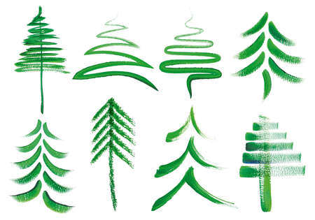 Watercolor Christmas trees, set of hand painted vector design elements Illustration