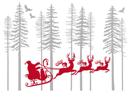 pine needle: Santa Claus with his reindeer in fir forest, vector illustration Illustration