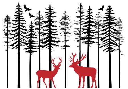 Fir tree forest with reindeer, Christmas card, vector illustration Çizim