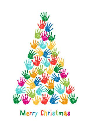 helping: Colorful Christmas tree, kids hand prints, vector illustration