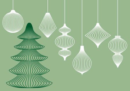 ornaments vector: Abstract Christmas tree and hanging ornaments, set of vector design elements