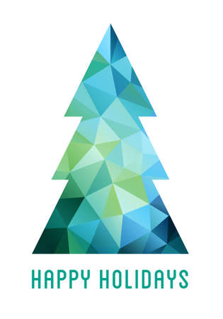 low poly: Abstract blue and green Christmas tree with geometric polygon pattern, vector card Illustration