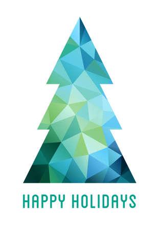 turquesa: árbol azul y verde abstracto de la Navidad con el modelo del polígono geométrico, vector de la tarjeta Vectores