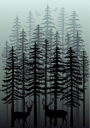Foggy winter forest with deer, birds and fir trees, vector illustration