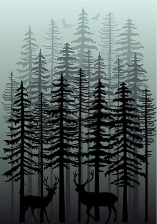 animales del bosque: bosque de niebla de invierno con los ciervos, pájaros y árboles de abeto, ilustración vectorial Vectores