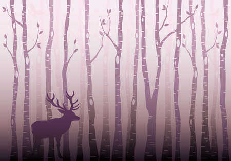 winter wonderland: Birch tree forest with deer and birds, winter wonderland, vector illustration