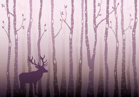 Birch tree forest with deer and birds, winter wonderland, vector illustration