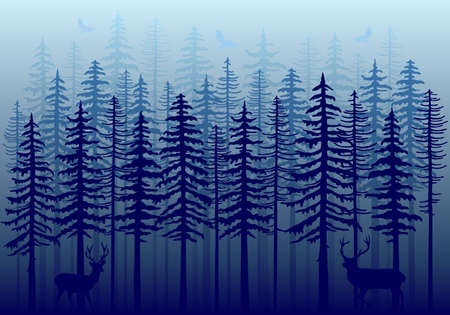 coniferous forest: Blue winter forest with fir trees, deer and flying birds, vector illustration