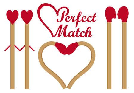 cerillos: El complemento perfecto, coincide en el amor, forma del corazón, un conjunto de elementos de diseño gráfico de vector