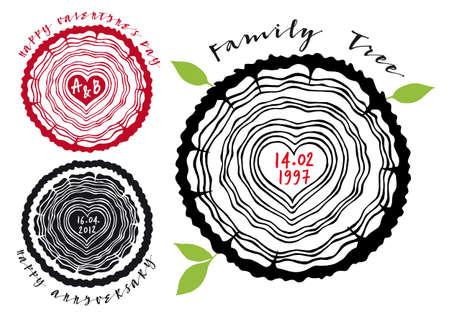 arbol genealógico: Árbol genealógico con anillos de los árboles y el corazón, ilustración vectorial Vectores