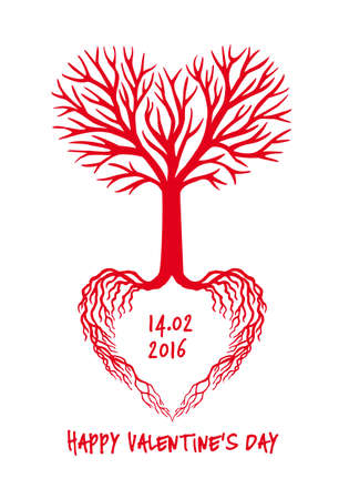 white heart: Red love tree with heart shaped branches and roots, vector Valentines day card Illustration