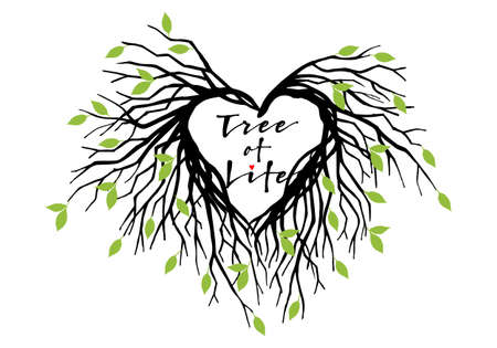heart shaped leaves: tree of life, heart shaped tree branches with green leaves, vector illustration